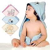 Baby Kapuzenhandtuch - 3er Set - Babybadetuch - 3er Handtuch Set - Babyhandtuch mit Kapuze - 100% Baumwolle (Cotton) - Frottee