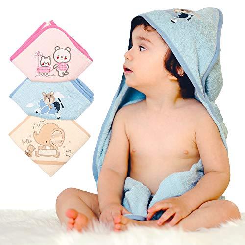 Set van 3 badhanddoeken baby - babyhanddoek met capuchon - baby handdoek - 3 stuks handdoeken - 100% katoen (katoen) - badstof