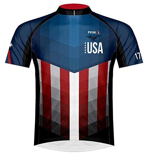 Primal Wear American Patriot USA Flag Cycling Jersey Men's XL Short Sleeve