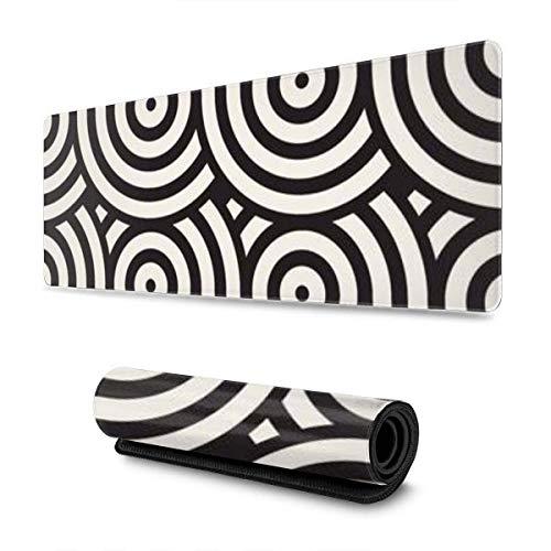 Mausepad Geometrisches Muster Zusammengesetzte Kreise Linien Moderne Stilvolle Abgerundete Schule Schreibtisch Geschenk Großformatiger Laptop Benutzerdefinierte Gummi-Schutz-Tasta