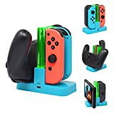 FastSnail Controller Charger Compatible with Nintendo Switch & OLED Model for Joycon, Charging Dock Station for Joy con and for Pro Controller with Charger Indicator and Type C Charging Cable