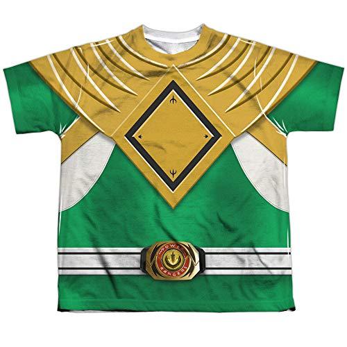 Mighty Morphin Disfraz de Power Rangers de Ranger verde malvado F/B para niños grandes con impresión en 2 lados Blanco blanco S