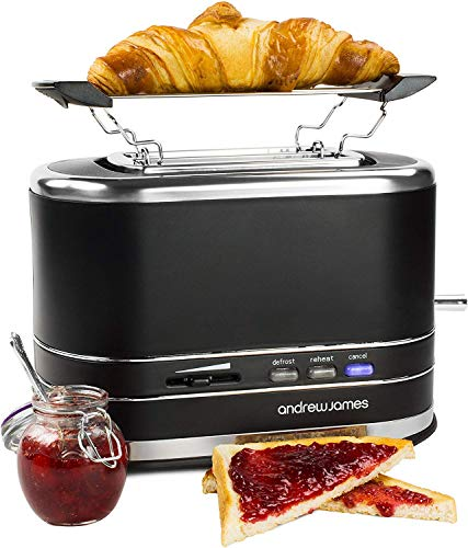 Andrew James Lumiglo Toaster | 2 Slice With Warming Rack | Defrost Function...