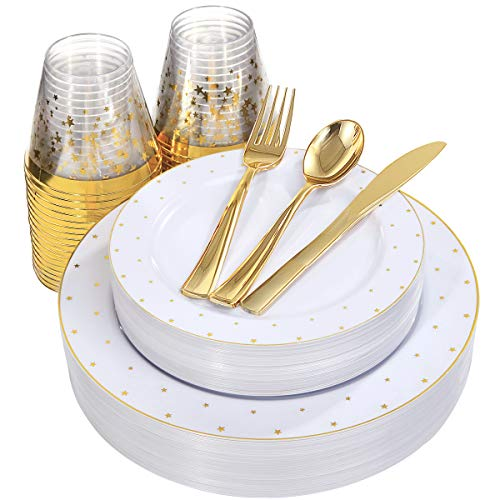 NERVURE 25 Guest Party Disposable Plates Set - Gold Star Plastic Plates and Gold Rim Cup for 25 Guests (25 10.3'' Dinner Plates+25 7.5'' Dessert Plates+25 Gold Silverware +25 9oz Cups) in Gold