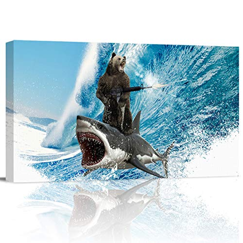 Imagetown26 Funny Bear Shark Surfing Oil Painting Modern Picture Painting Art on Canvas Creative Pattern Wall Decor for Bedroom Living Room Dining Room Bathroom - 12x24inch