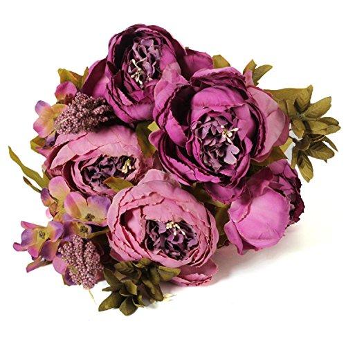 KING DO WAY Kunstblumen strauss kuenstlicher pfingstrose seide blumen blatt home hochzeit kuenstliche blumen dekor braut Lila