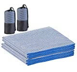 PEARL Handtuch saugfähig: 2er-Set schnelltrocknende, leichte Bambus-Handtücher, 130 x 80 cm (Trekking-Handtücher)