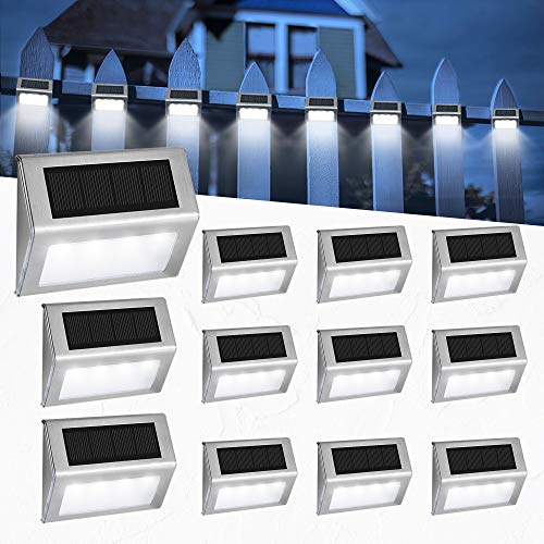 Easternstar Solar Step Lights Solar Deck Lights, 12-Pack Stainless Steel 4 LED Solar Powered Wireless Lights Waterproof Outdoor Lighting for Steps Stairs Decks Fences Paths Patio Pathway-Cool White