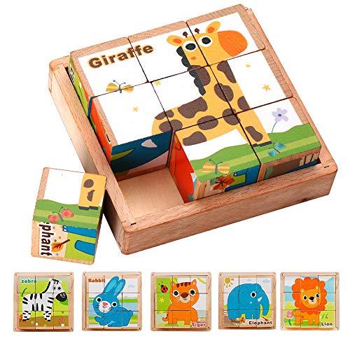 LBLA キューブパズル 3D立体パズル 木製 積み木 アニマル 9コマ 子供向け 知育玩具 動物6種類 ライオン ジラフ ウサギ シマウマ 象 トラ 形合わせ 木のおもちゃ 男の子 女の子 教具 1歳 2歳 3歳 4歳 5歳 6歳 赤ちゃん ベビー 出産