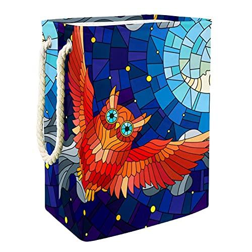 EZIOLY Cesta de lavandería plegable con diseño de búho, vidriera, con asas, soportes desmontables, resistente al agua, para la ropa, juguetes, organización en la sala de lavandería, dormitorio