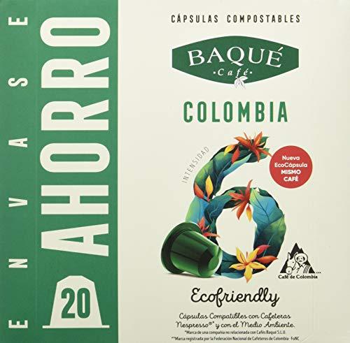 Cafés Baqué - 20 Capsulas Compatibles Nespresso Colombia - Intensidad 6 De 10 - Capsulas Compostables 180 g