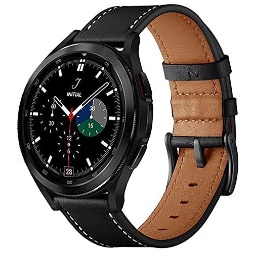 SPGUARD Armband Kompatible mit Samsung Galaxy Watch 4 40mm 44mm Armband, 20mm Lederarmband Ersatzarmband für (2021)Galaxy Watch 4 40mm 44mm/Galaxy Watch4 Classic 42mm 46mm Smartwatches(Schwarz)