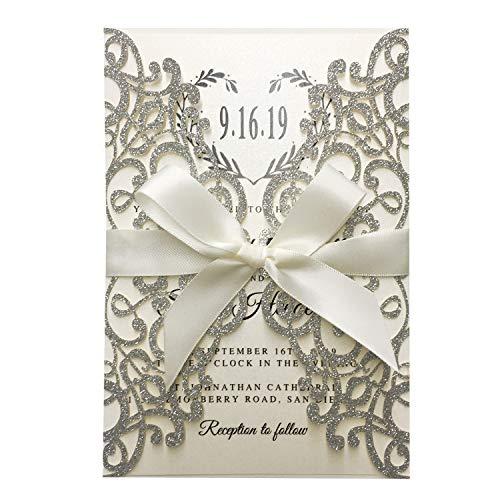 Picky Bride 25pcs Luxury Glitter Silver Wedding Invitations, Grey Invitation Cards for Wedding/Bridal Shower/Birthday Party 127 x185mm (Silver)