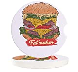 Car Coasters for Drinks Set of 4 Hamburger Coaster Set Ceramic Stone and Cork Base for Suv Accessories or Any Vehicle Accessories Coasters