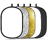 Konseen 撮影用 レフ板 100x150cm 楕円レフ板 5 in 1 (金/銀/白/黒/半透明) 折り畳み スタジオレフ板 マルチレフ板