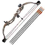 AW 34' Junior Compound Bow Kit w/ 4pcs 28' Arrow Set Youth Archery Right Hand Draw Weight 20lbs Hobby