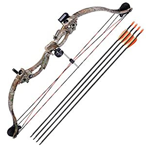 AW 34″ Junior Compound Bow Kit w/ 4pcs 28″ Arrow Set Youth Archery Right Hand Draw Weight 20lbs Hobby