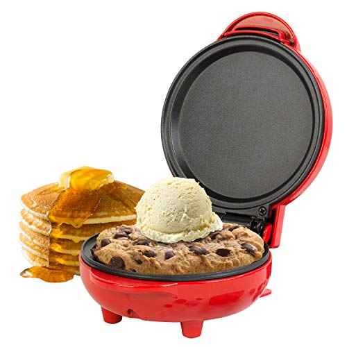 Aparato para preparar aperitivos compacto EK4215GVDEEU7 de Giles & Posner® con enchufe europeo   550W   Placa de 11,5cm   Rojo   Haga tortitas, hamburguesas, masa de galletas y mucho más