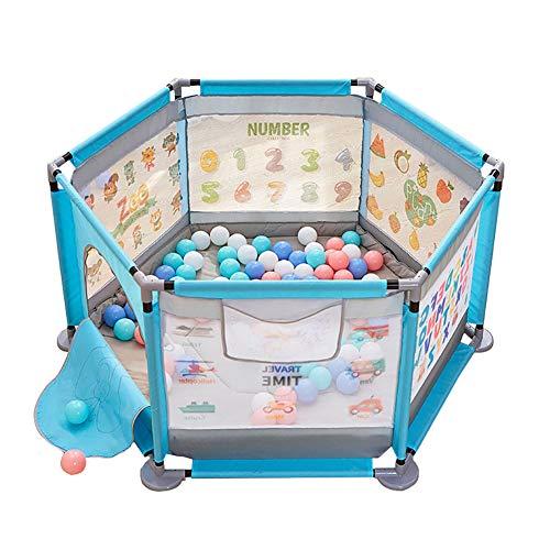 Playpen - Parque de Juegos Hexagonal con Pelota y colchón, Parque de Seguridad para bebés con Bolsa/Puerta, Interior/Exterior, Azul, 140 x 65 cm