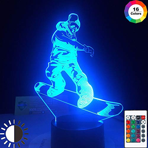 KangYD 3D Nachtlicht Snowboarden Extremsport, LED Illusionslampe, D - Remote Crack White (16 Farbe), Hohe Qualität, Kunsthandwerk, Kunstnachtlampe, Moderne Lampe, Fashion Light