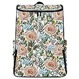 YUDILINSA Viaje Mochila,Patrón sin costuras Rosas inglesas Otras flores,Universitaria Mochila,Laptop Backpack con Compartimento para zapatos