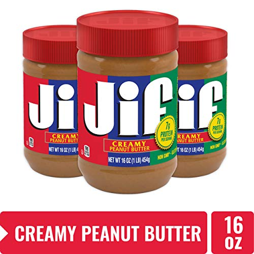 Jif Creamy Peanut Butter, 7g (7% DV) of Protein per Serving, Smooth, Creamy Texture, No Stir Peanut Butter, 16 Ounce, Pack of 3