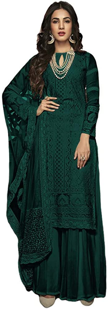 Henith Collection Ready to Wear Pakistani Party Wear Cotton Thread Embroidered Work Straight Salwar Kameez Salwar Suit for Women (Green, XL)