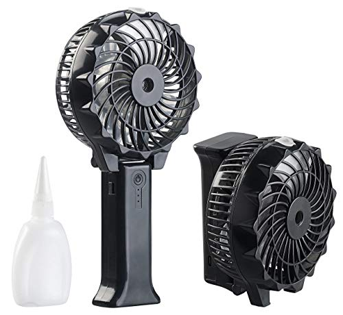 PEARL Handventilatoren: Klappbarer 2in1-Akku-Hand- & Tisch-Ventilator mit Nebler-Funktion, USB (Ventilator Mini)