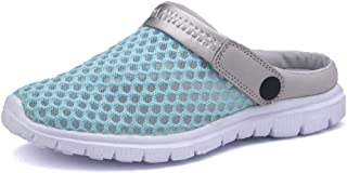 Xiang Ye Slippers for Men Summer Sandals Slip-on Outdoor Breathable Mesh Upper Anti-slip Flat Round Close Toe Backless Lightweight (Color : Light blue, Size : 40 EU)