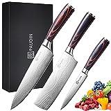 PAUDIN Küchenmesser Set, NS1 3-teilig Küchenmesserset aus hochwertigem Carbon Edelstahl, Ultra Scharfes Messerset mit Chefmesser Hackmesser Allzweckmesser, Küchenmesser mit ergonomischer Griff