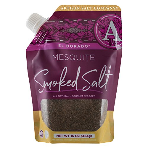 SaltWorks El Dorado Mesquite Smoked Sea Salt, Artisan Pour Spout Pouch, 16 Ounce