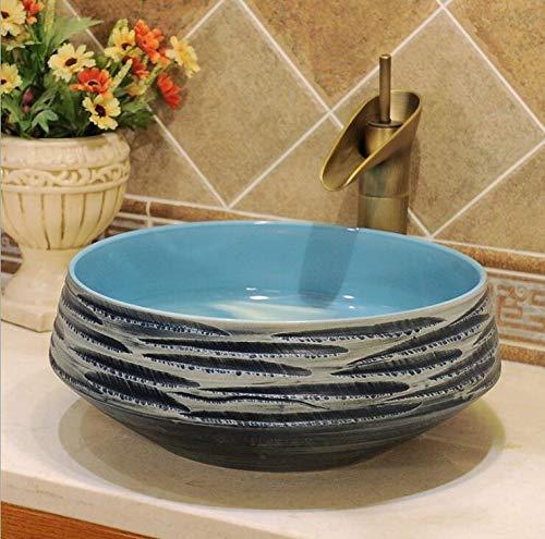 Mediterráneo baño guardarropa azul hecho a mano pintado artesanía con motivos de cerámica porcelana Kasbah encimera montado redondo lavabo lavabo recipiente jd17217