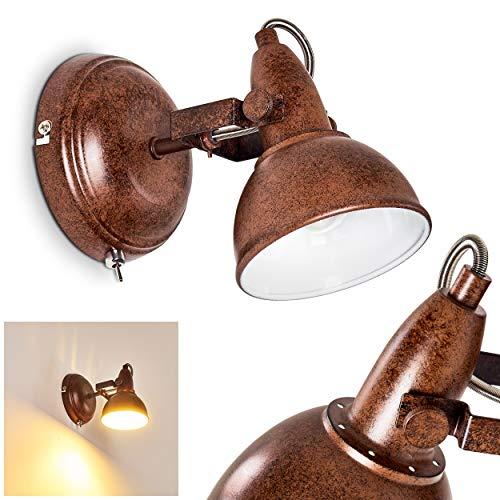 Wandlamp Tina, verstelbare wandlamp van metaal in roestbruin/wit, 1 vlam, 1 x E14 fitting, max. 40 Watt, wandvlek in retro/vintage uitvoering, geschikt voor LED-lampen