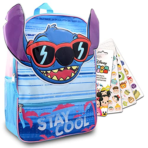 Disney Lilo And Stitch Backpack For Kids ~ 2 Pc Bundle With 16' Stitch School Bag Backpack And Tsum Tsum Stickers For Boys And Girls | Lilo And Stitch School Supplies Set