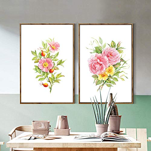 Moderne aquarel canvas art schilderij van chinese roos en chinese trompet klimplant bloem, muur foto-40x60cmx2pcs geen frame