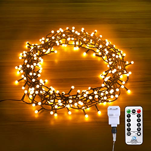 Qinner Waterproof Outdoor Globe String Lights Plug in Powered,15 M/250 LED Garden Fairy String Light with Remote Control, 8 Modes for Garden Patio Fence Bedroom Wedding Party-Warm White