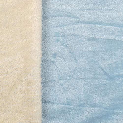 Superflausch 2109 Uni/Uni, Doubleface, 8 Farben - Meterware ab 50cm | Wellness-Fleece Softplüsch Microfleece Einfarbig (hellblau/weiß)