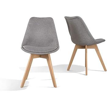 Home Heavenly - Pack de 2 sillas Comedor, Silla diseño nórdico con Asiento Acolchado, TULIPA en Blanco o Gris (Gris): Amazon.es: Hogar