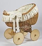 MJmark berceau a roulettes en osier Grand avec literie Bianca Uno Ant cream