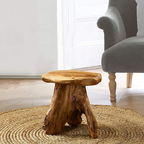 Greenage Cedar Roots Naturally Shaped Mushroom Stool Side Table Stand, 13