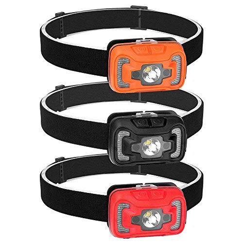 ZFSWMY Headtorch antorcha recargable Faros delanteros, iluminación Exterior, faros recargables, Luces de Sensor de Onda, Luces de Pesca nocturna, antorchas de cabeza de Mini Sensor (Color: Naranja)