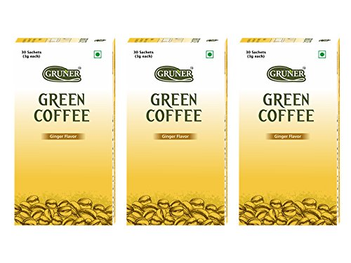 Gruner Ginger Flavored Unroasted Green Coffee Powder for Weight Management – 30 Sachets (Each Sachet 3 gram) Pack of 3