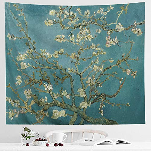 IcosaMro Van Gogh Tapestry Wall Hanging, Almond Blossom Nature Plant Floral Wall Art [Double-Folded