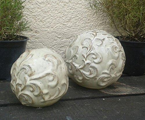 terracotta-toepfe-de 2er Kugelset ca. 16 + 12 cm aus Steinzeug Keramik, Hellbeige glasiert Deko Garten