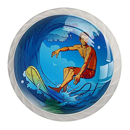 Pomo para muebles de habitación infantil Hombre de surf lindo pomo de cajón pomo decorativo para habitación de niños adecuado para gabinetes cajones 4 piezas 3.5×2.8CM