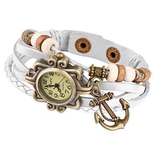 Taffstyle Damen-Armbanduhr Analog Quarz mit Leder-Armband Geflochten Charms Anhänger Uhr Retro Vintage Anker Gold Weiß
