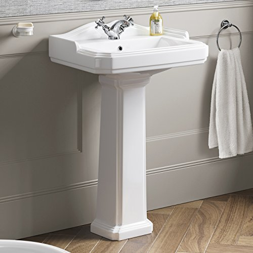 Traditional Ceramic Pedestal Wash Basin Sink With Single