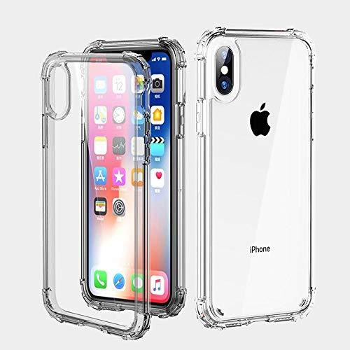 Hexiaoyi Funda de Silicona Transparente Parachoques a Prueba de Golpes for iPhone X XS XR XS MAX 8 7 6 6S Plus Protección Transparente Cubierta Trasera del teléfono