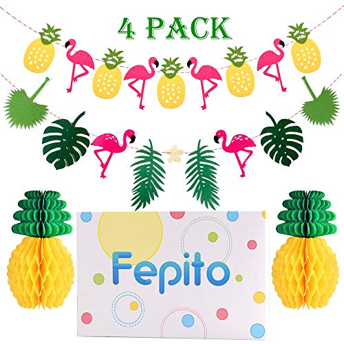 FEPITO 2 Pack Hawaiian Tropical Garland Pineapple Flamingo Banner with 2 PCS Pineapple Honeycomb for Pink Flamingo Hawaiian Tropical Party Birthday Party Decoration