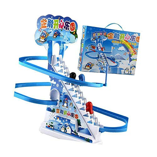Arctic Fun Playful Penguin Race Set, Jolly Penguin Slide Playset, with Flashing Lights & Music On/Off Button for Quiet Play